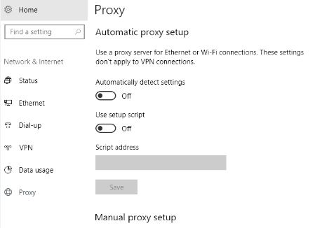 Setting a proxy server in Windows 10