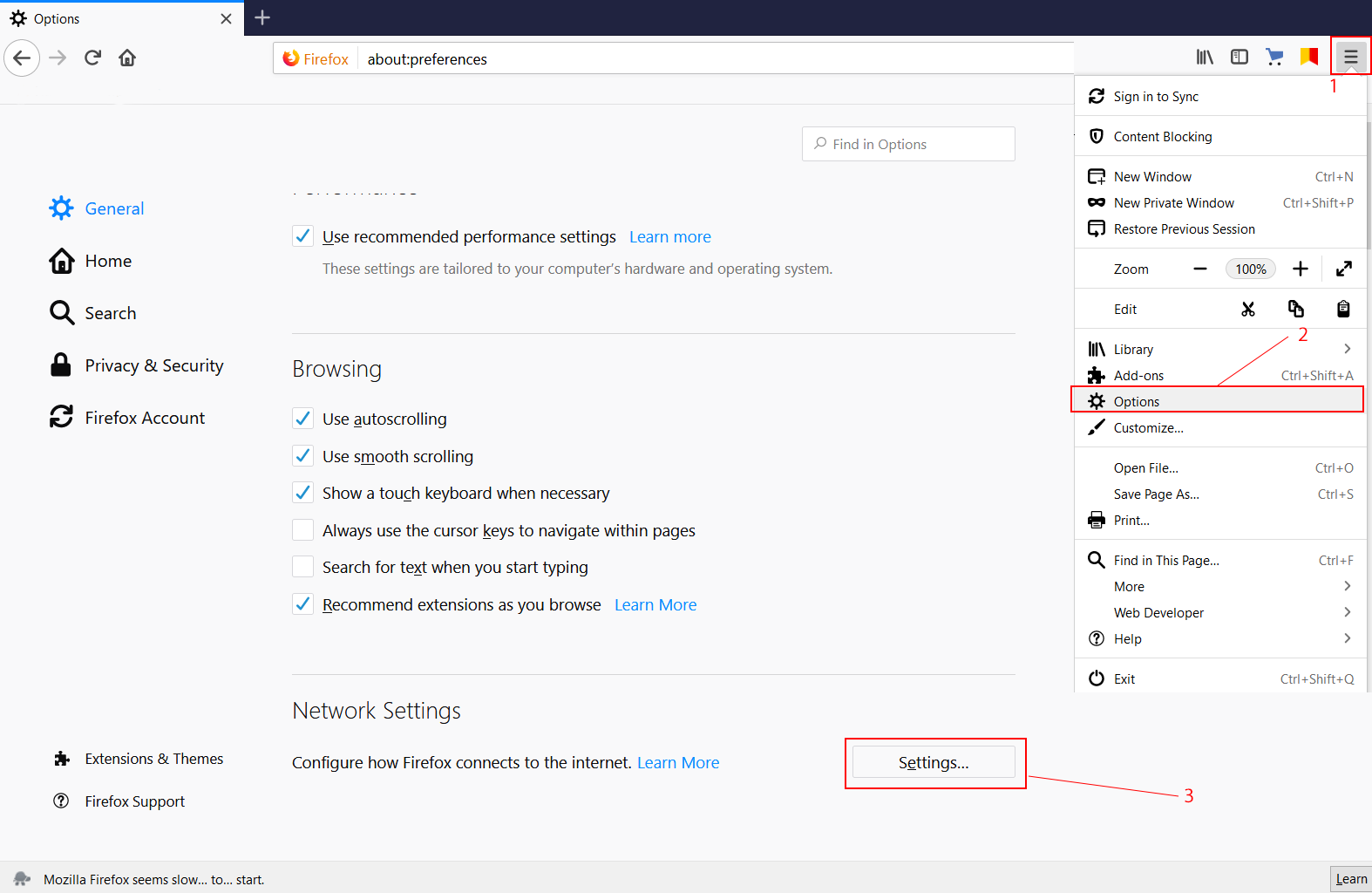 Setting up a proxy server in Firefox