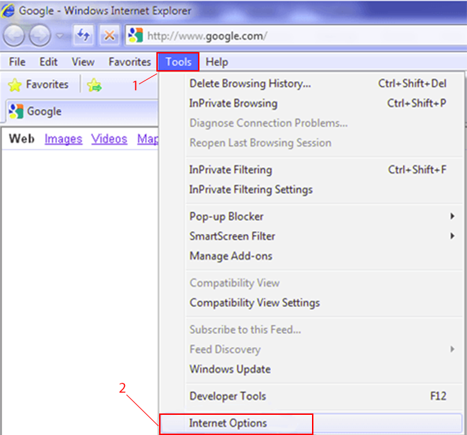 Setting up a proxy server in Internet Explorer